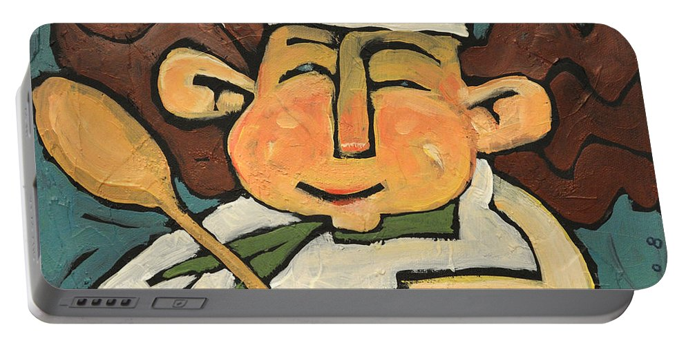 Chef Portable Battery Charger featuring the painting The Happy Chef by Tim Nyberg