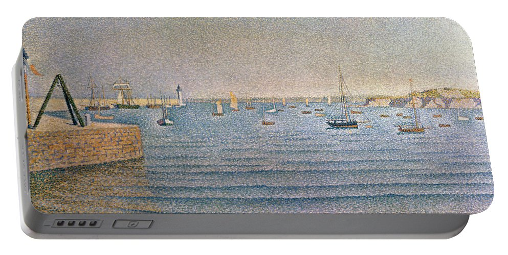 The Harbour At Portrieux Portable Battery Charger featuring the painting The Harbour At Portrieux by Paul Signac