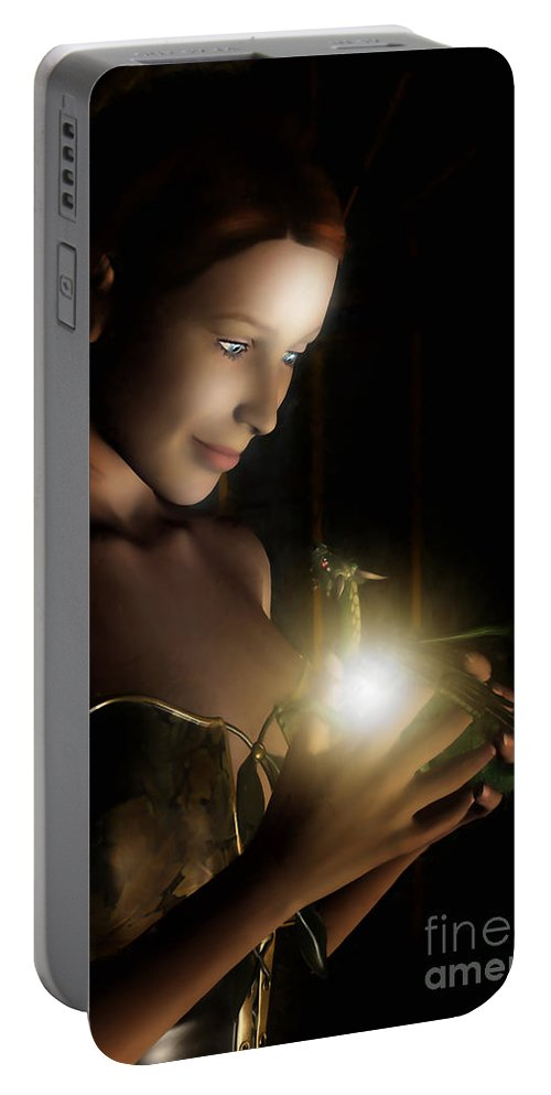 Hatchling Portable Battery Charger featuring the digital art The Hatchling by John Edwards