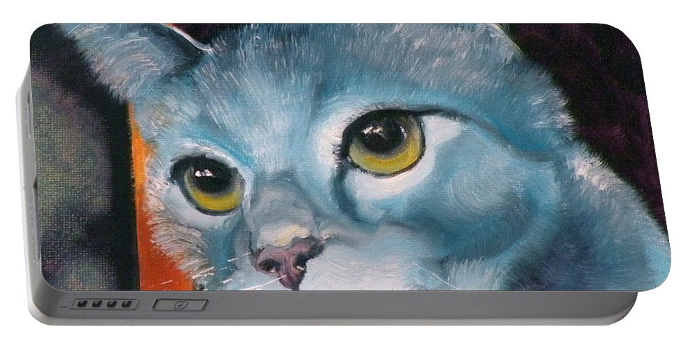 Cat Portable Battery Charger featuring the painting The Heart Is A Lonely Hunter by Susan A Becker