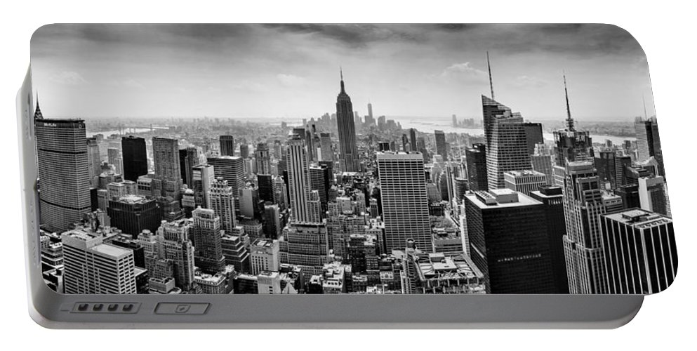 Empire State Building Portable Battery Charger featuring the photograph New York City Skyline Bw by Az Jackson