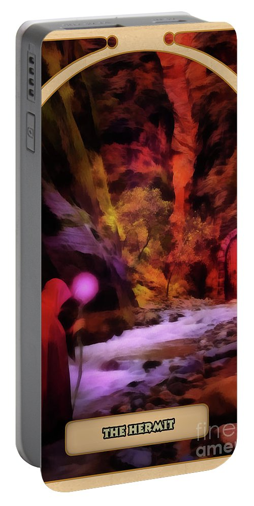 Magic Portable Battery Charger featuring the digital art The Hermit by John Edwards