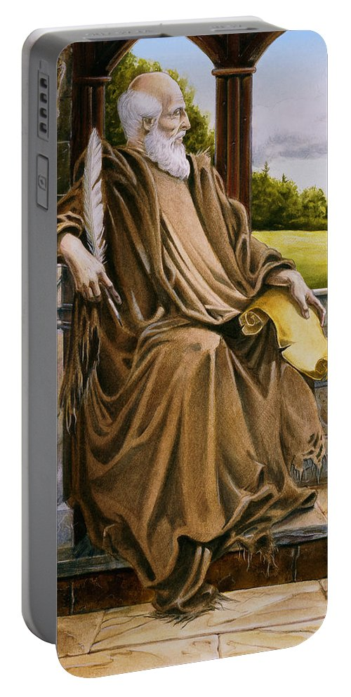 Wise Man Portable Battery Charger featuring the painting The Hermit Nascien by Melissa A Benson
