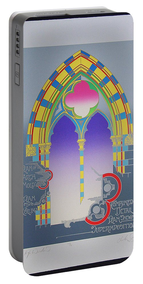 Window Portable Battery Charger featuring the mixed media The High Window by Charles Stuart