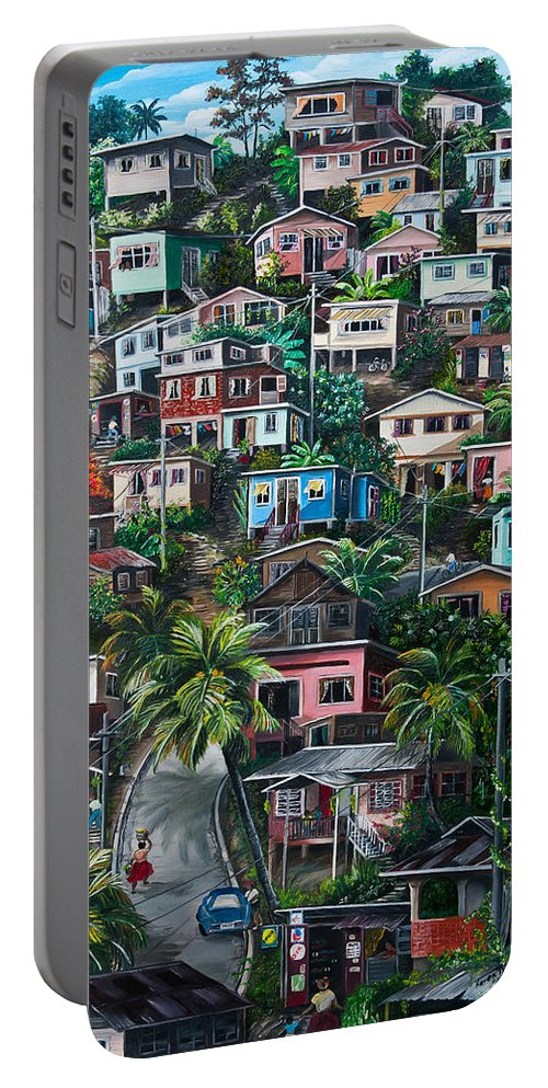 Landscape Painting Cityscape Painting Houses Painting Hill Painting Lavantille Port Of Spain Painting Trinidad And Tobago Painting Caribbean Painting Tropical Painting Caribbean Painting Original Painting Greeting Card Painting Portable Battery Charger featuring the painting The Hill   Trinidad by Karin Dawn Kelshall- Best