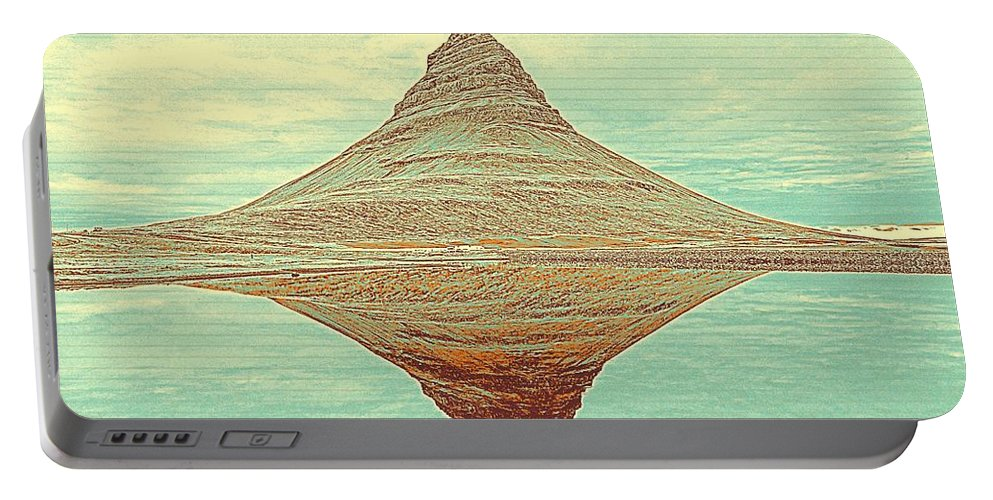 Nature Portable Battery Charger featuring the painting The Hill In The Middle Of Nowhere by Celestial Images