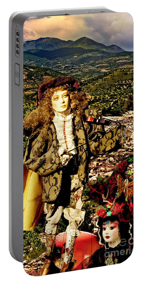 Santorini Portable Battery Charger featuring the photograph The Hills Are Alive In Santorini by Madeline Ellis