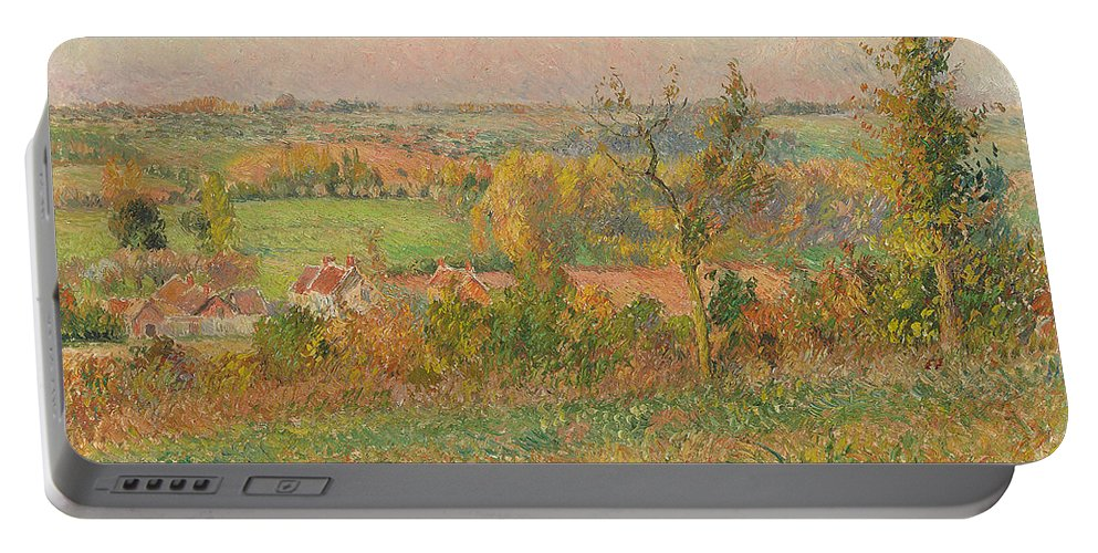 Pissarro Portable Battery Charger featuring the painting The Hills Of Thierceville Seen From The Country Lane by Camille Pissarro