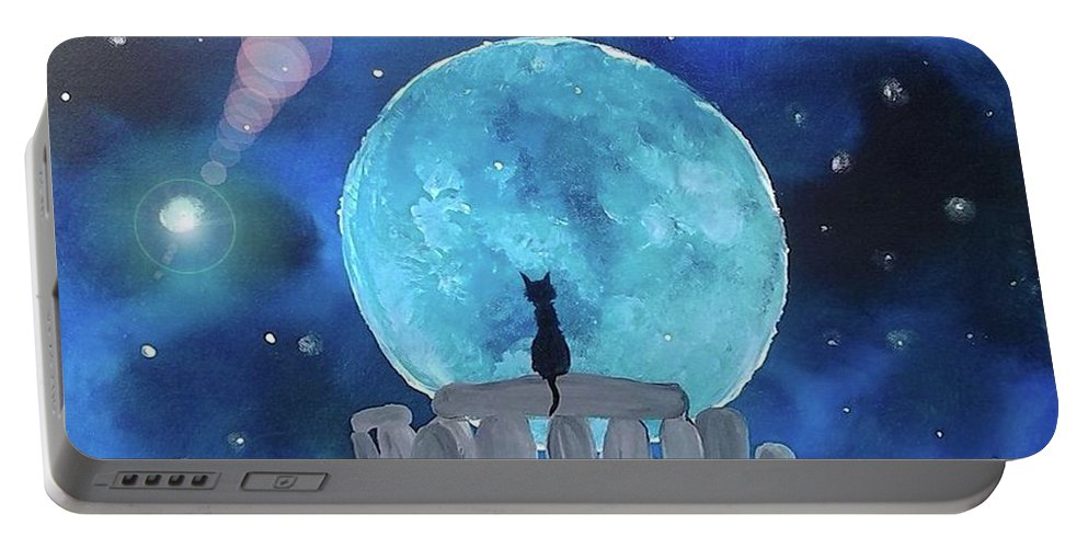 Cat Portable Battery Charger featuring the painting The Historian by Krista May