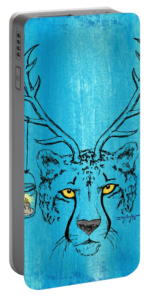Cheetah Portable Battery Charger featuring the painting The Horned Cheetah by William Depaula