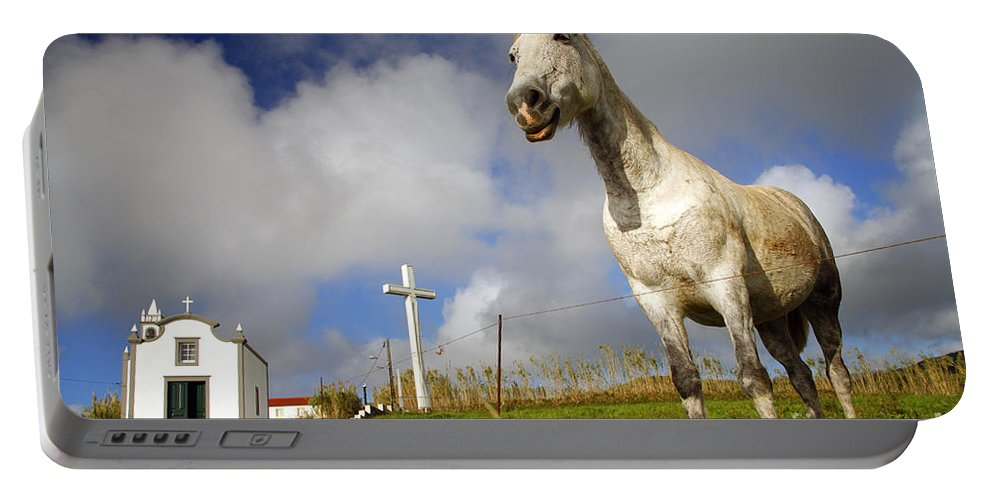 Portugal Portable Battery Charger featuring the photograph The Horse And The Chapel by Gaspar Avila