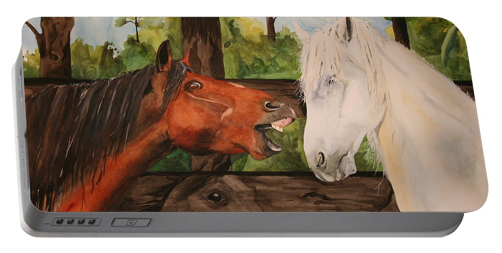 Horse Portable Battery Charger featuring the painting The Horse Whisperers by Jean Blackmer