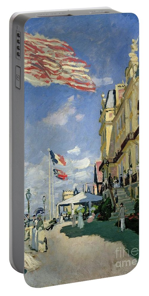 Monet Portable Battery Charger featuring the painting The Hotel Des Roches Noires At Trouville by Claude Monet