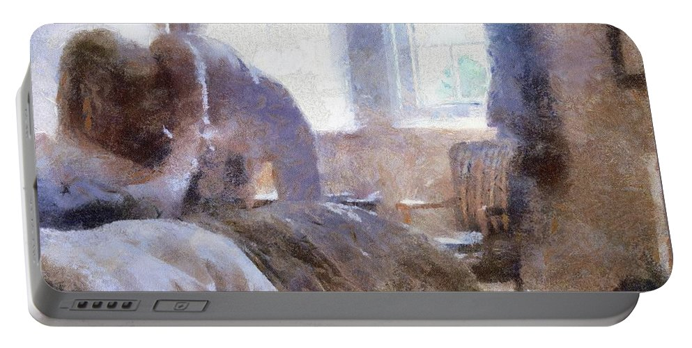 Burlesque Portable Battery Charger featuring the painting The Hotel Room By Mary Bassett by Mary Bassett