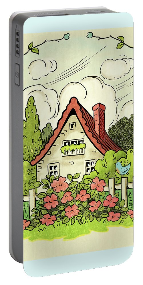 Cottage Portable Battery Charger featuring the painting The House At The End Of Storybook Lane by Little Bunny Sunshine