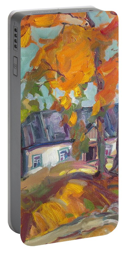 Oil Portable Battery Charger featuring the painting The House In Chervonka Village by Sergey Ignatenko