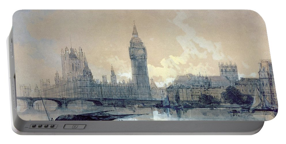 The Portable Battery Charger featuring the painting The Houses Of Parliament by David Roberts
