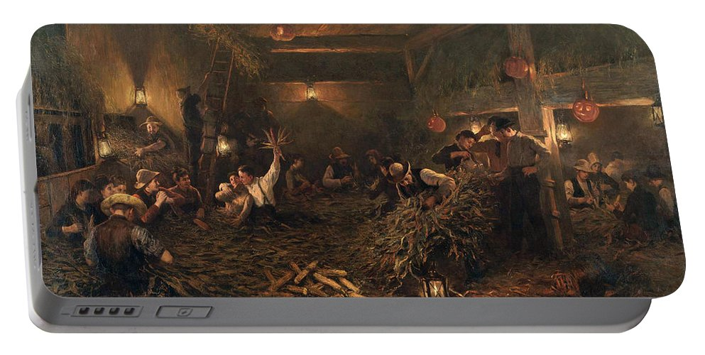 Henry Mosler Portable Battery Charger featuring the painting The Husking Bee by Henry Mosler