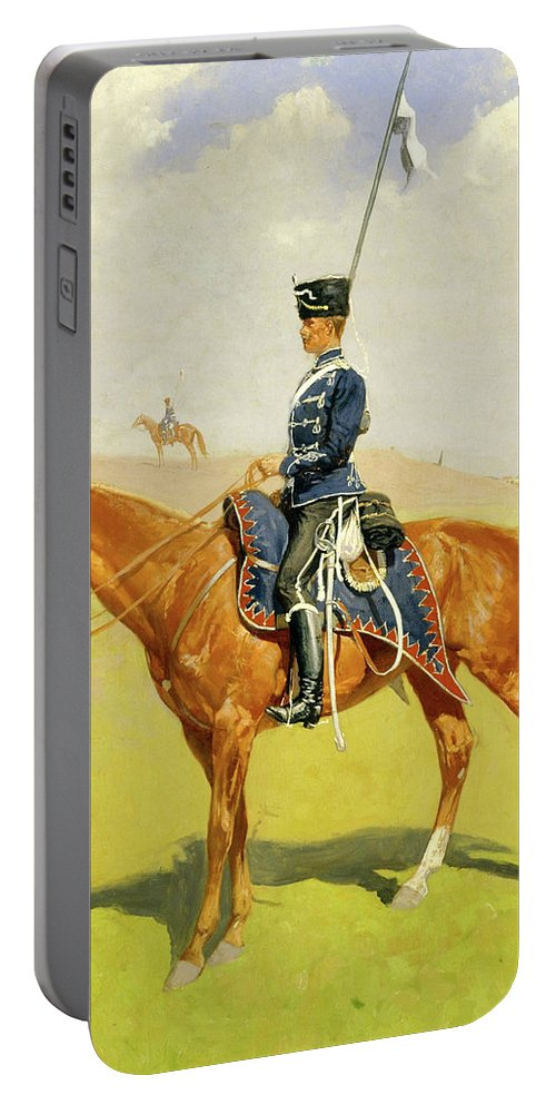 Hussar Portable Battery Charger featuring the painting The Hussar by Frederic Sackrider Remington
