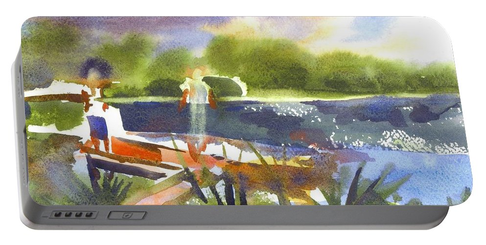 The Ideal Catch Portable Battery Charger featuring the painting The Ideal Catch by Kip DeVore