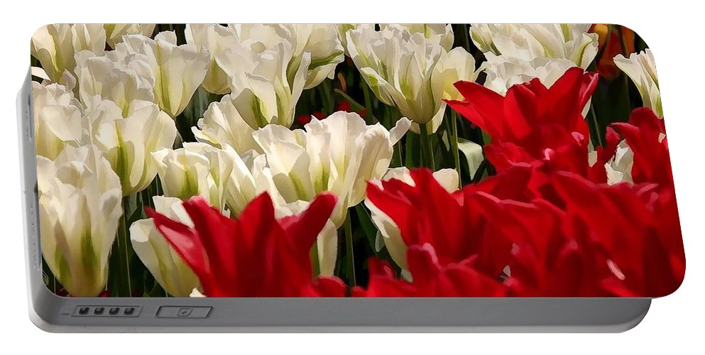 The Image Of A Tulip Portable Battery Charger featuring the painting The Image Of A Tulip by Jeelan Clark