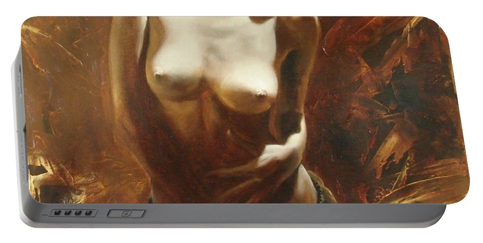 Oil Portable Battery Charger featuring the painting The Incinerating Passion by Sergey Ignatenko