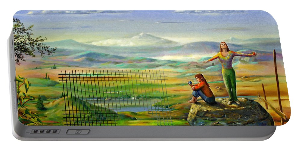 Alfred Portable Battery Charger featuring the painting The Inner Freedom by Alfred Dolezal