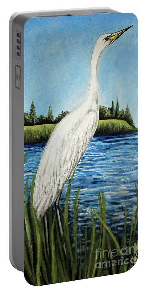 Landscape Portable Battery Charger featuring the painting The Island's Egret by Elizabeth Robinette Tyndall