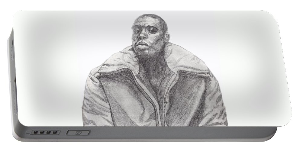 Jacket Portable Battery Charger featuring the drawing The Jacket by Jean Haynes
