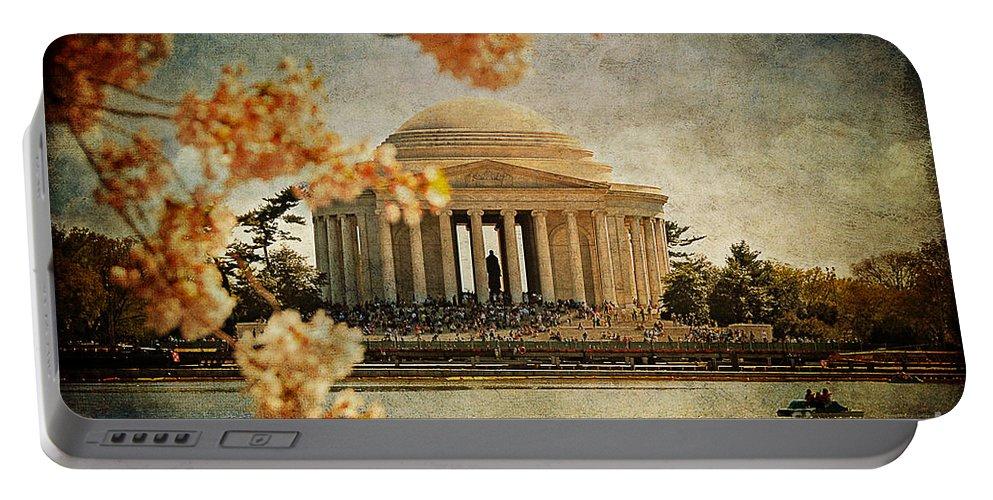 Jefferson Memorial Portable Battery Charger featuring the photograph The Jefferson Memorial by Lois Bryan