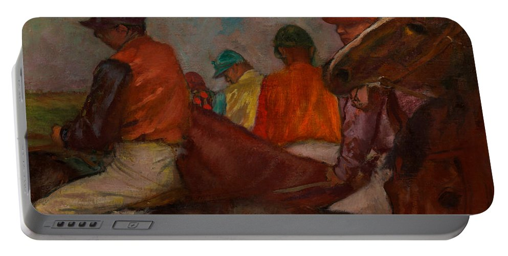 Painting Portable Battery Charger featuring the painting The Jockeys by Mountain Dreams