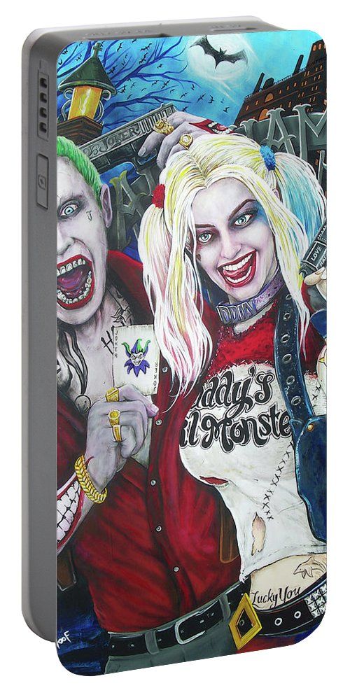 The Joker Portable Battery Charger featuring the painting The Joker And Harley Quinn by Michael Vanderhoof
