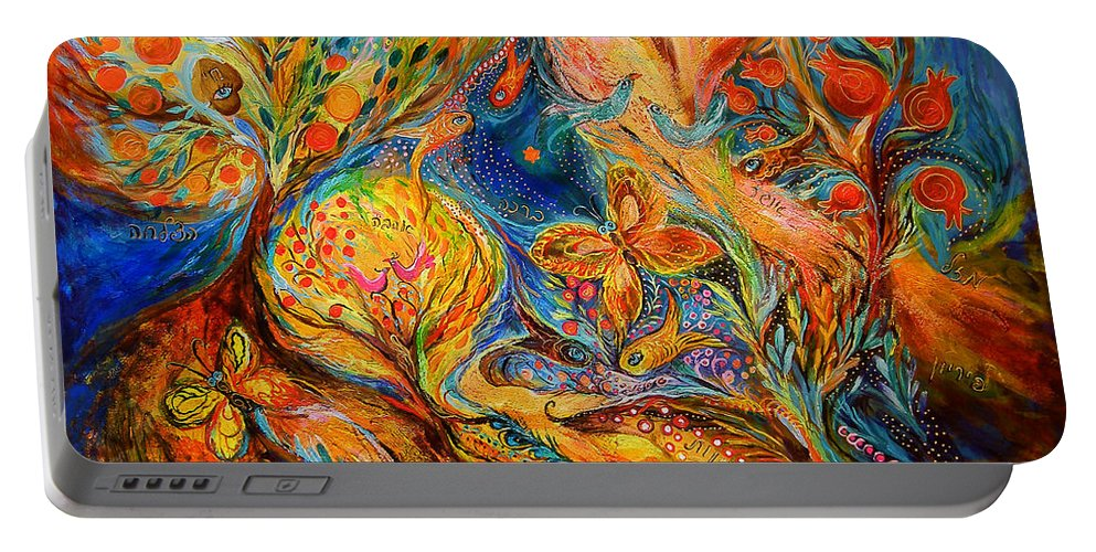 Original Portable Battery Charger featuring the painting The Jordan River by Elena Kotliarker