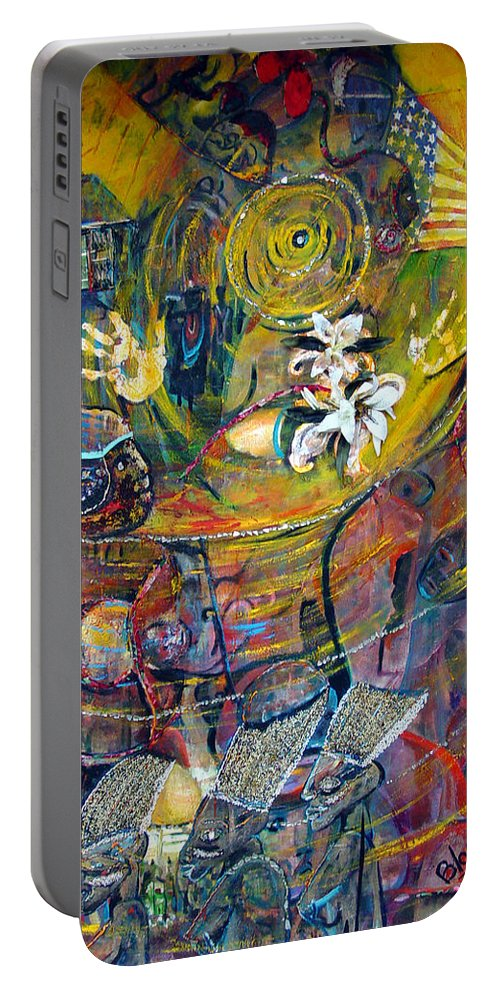 Figures Portable Battery Charger featuring the painting The Journey by Peggy Blood