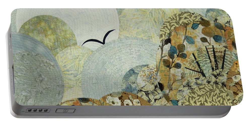 Landscape Portable Battery Charger featuring the tapestry - textile The Joy of Soaring by Linda Beach