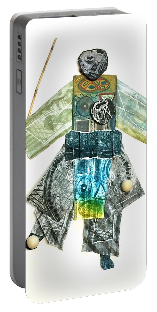Portable Battery Charger featuring the mixed media The Juggler by Iris Posner