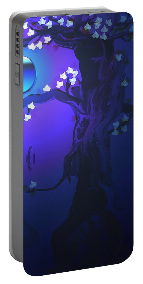 Tree Moon Spider Leaves Blue Feelings Lonely Drawing Dark Portable Battery Charger featuring the digital art The Keeper by Andrea Lawrence