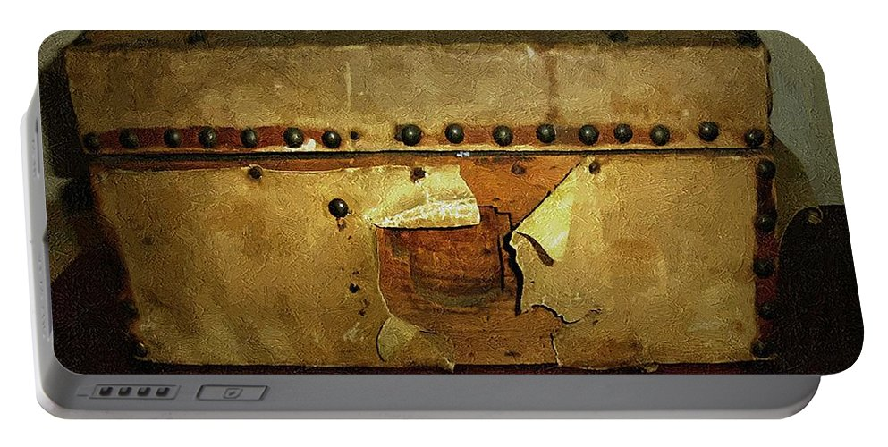 Americana Portable Battery Charger featuring the painting The Keepsake Chest by RC DeWinter