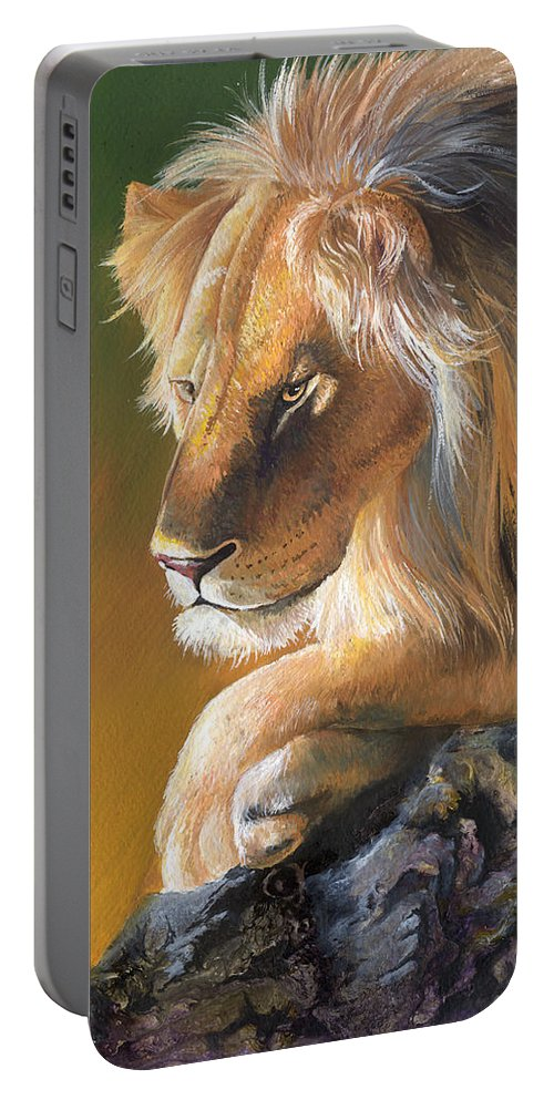 Lion Portable Battery Charger featuring the painting The King by Sherry Shipley
