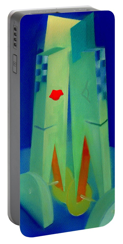 Blue Portable Battery Charger featuring the painting The Kiss by Charles Stuart