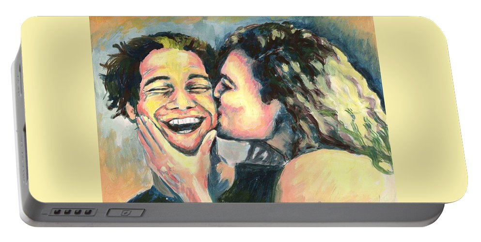 Man Portable Battery Charger featuring the painting The Kiss by Nicole Zeug