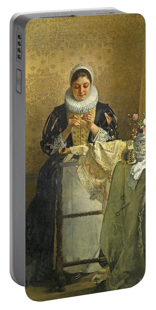 Eduard Charlemont Portable Battery Charger featuring the painting The Lace Maker by Eduard Charlemont
