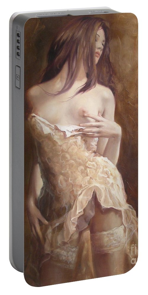 Art Portable Battery Charger featuring the painting The Laces by Sergey Ignatenko