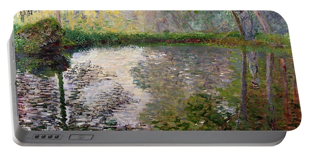 The Lake At Montgeron By Claude Monet (1840-1926) Portable Battery Charger featuring the painting The Lake at Montgeron by Claude Monet