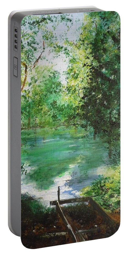Lake Portable Battery Charger featuring the painting The Lake At Stansted Unfinished by Lizzy Forrester