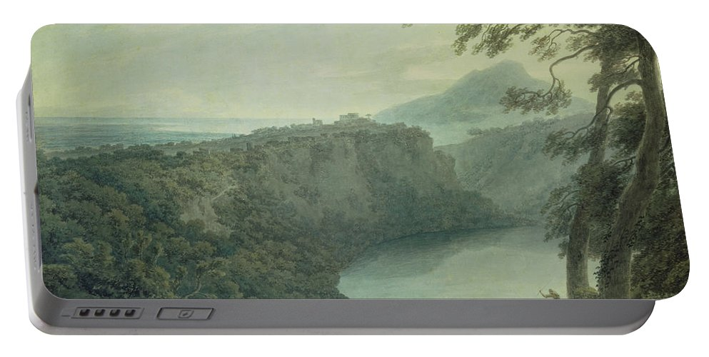 Landscape Portable Battery Charger featuring the painting The Lake Of Nemi And The Town Of Genzano by John Robert Cozens
