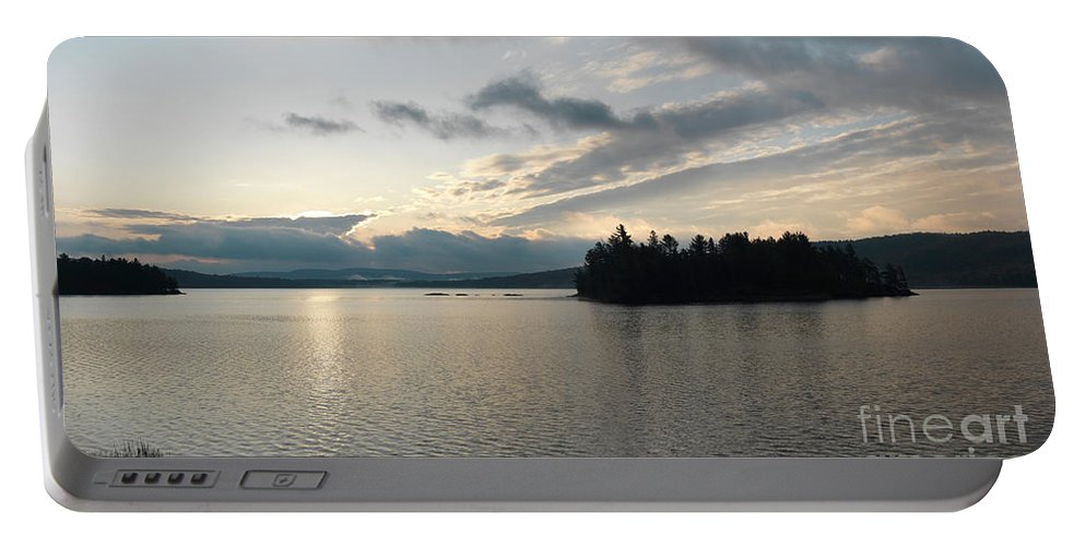 Lake Portable Battery Charger featuring the photograph The Lake Of Two Rivers At Dawn by Oleksiy Maksymenko