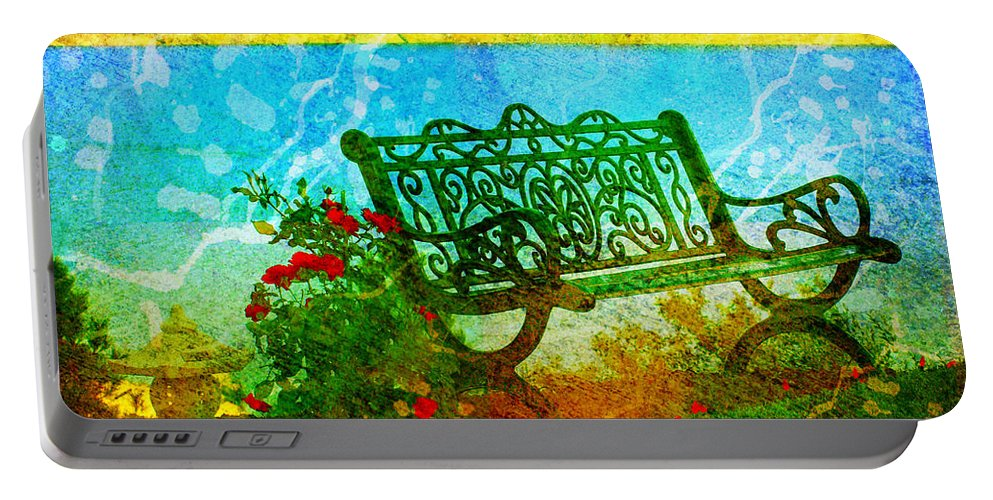Bench Portable Battery Charger featuring the photograph The Lakeview Bench by Tara Turner