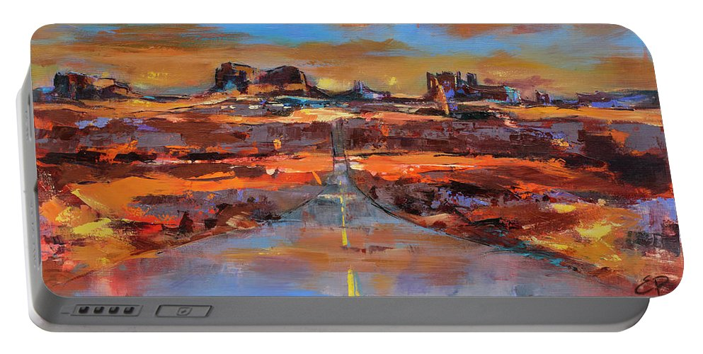 Monument Valley Portable Battery Charger featuring the painting The Land Of Rock Towers by Elise Palmigiani