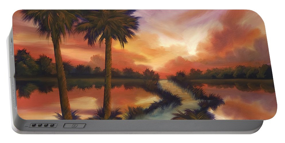 Skyscape Portable Battery Charger featuring the painting The Lane Ahead by James Christopher Hill